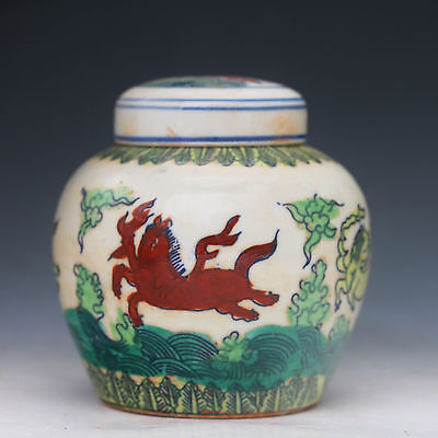 Unique Chinese Famille Rose Porcelain Handwork Painting Horse Storage Tank