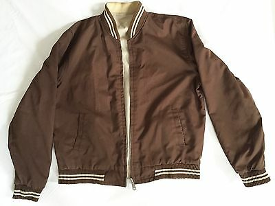 Retro Vintage 60s 70s Reversible Varsity College Jacket Chocolate Brown Beige