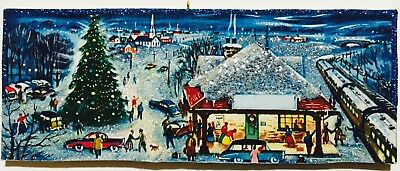 Christmas Train Busy Town Eve Train Station VTG Glittered Ornament Greeting Card