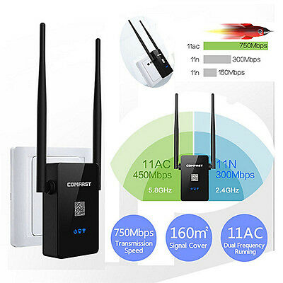 750Mbps Dual Band 2.4 / 5.8G Wireless Repeater 802.11AC Router WiFi Extender ^