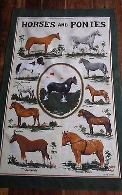 Vtg cotton tea towel Clive Mayor Horses and Ponies Clydesdale Shetland Shire UK