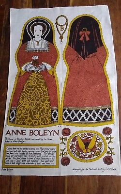Vtg irish linen Pat Albeck National Trust Anne Boleyn doll pattern tea towel