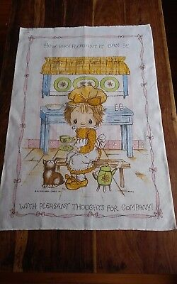 Vtg cotton linen old bleach tea towel Betsey Clark? Hallmark 1971 charming rare
