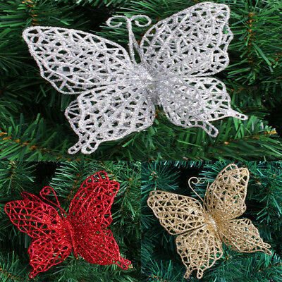 10pcs Hollow Hanging Butterfly Decor Christmas Tree Decor Festival Ornament