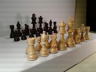 Vintage wood Chess Set in wooden box 3 3/4 Tall King no board felt footed