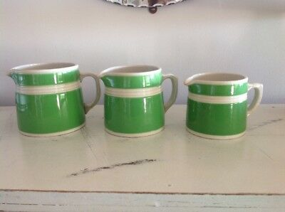 SET OF 3 1930's GRADUATED FOWLER WARE GREEN/WHITE STRIPED JUGS