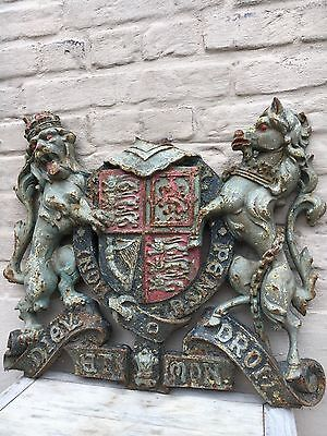 TOP Antique French Cast iron Medieval Coat of Arms, Metal art, Unicorn, Lion