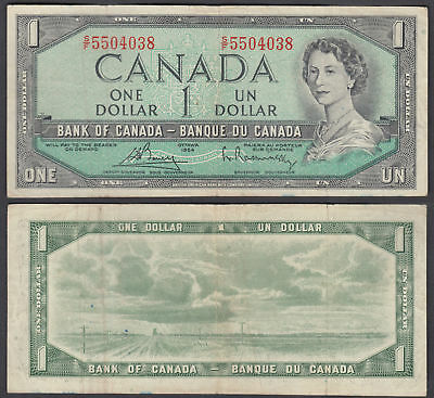 Canada 1 Dollar 1954 (1972-73) Banknote (VF) Condition P-75c QEII