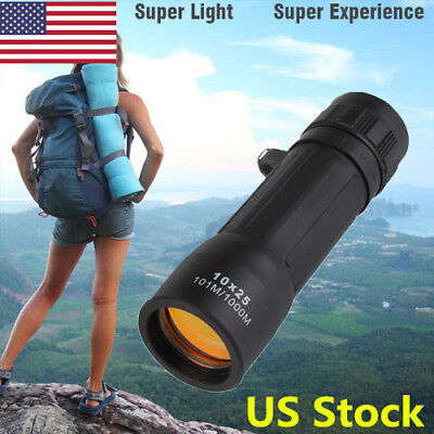 US 10x25 Zoom Optics Monocular Telescope Spoting Mini Scope For Hiking Camping