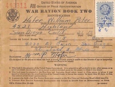 USA / War Ration Book Two  1.1943  San Diego , Ca. WWII  Circulated Banknote
