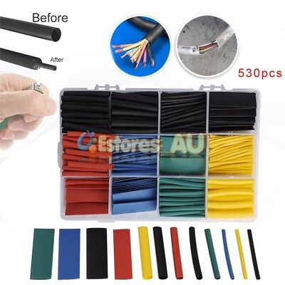 530Pcs 2:1 Heat Shrink Tubing Assortment Wire Cable Insulation Sleeving Wrap Kit