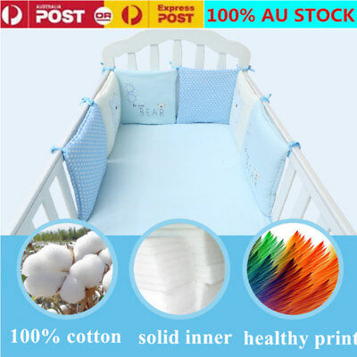 6Pcs 100% Breathable Cotton Space Infant Baby Air Pad Cot Bumper Bed Protection