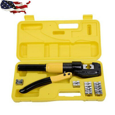 Hydraulic 8Ton Wire Terminal Crimper Battery Cable Lug Crimping Tool w/Dies Tool
