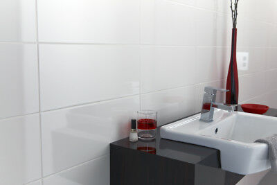 Opaque White Ceramic Wall Tiles 20x50cm*PALLET DEAL*72m2 for £789.12= £10.96m2