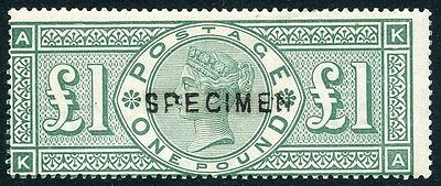 SCARCE 1891 £1 green MH with SPECIMEN overprint. S.G. 212t Cat = £1100.