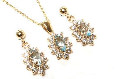 9ct Gold Blue Topaz and CZ cluster Pendant and Earring Set Gift Boxed Made in UK