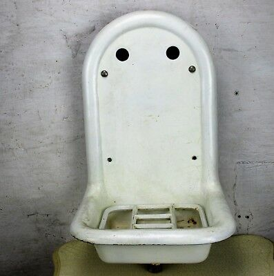 French Antique Cast Iron Enamel Country Chic Garden Sink Wash Basin Wall Mount