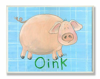 The Kids Room by Stupell Oink Pig on Blue Plaid Background Rectangle Wall Plaque