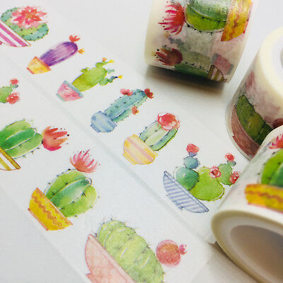 Washi Tape Wide Flowering Cactus Succulent 30Mm X 5Mtrs Craft Wrap Plan Scrap