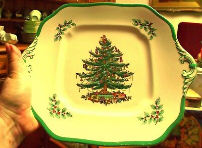 "Vintage Spode Christmas Tree design 11"" Square Lugged Mince Pie Plate"