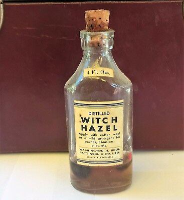 Vintage WITCH HAZEL Bottle, Contents – Medical, Pharmaceutical, Advertising