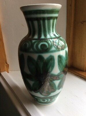 Tall Green & White Vase By Rye Pottery