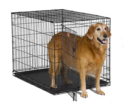 """XXL Large Dog Crate Kennel Pet Cage House Metal Folding 42"""" Dog Pen Double Door"""