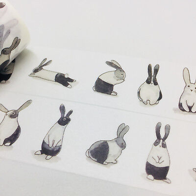 Washi Tape Wide Bunny Business Rabbits 30Mm Wide X 5Mtr Roll Craft Plan Wrap