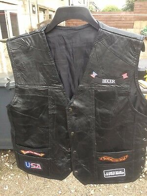 bikers leather waistcoat with badges