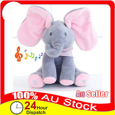 Peek-a-boo Soft Elephant Doll Baby Plush Toy Singing Stuffed Animated Kids Gift