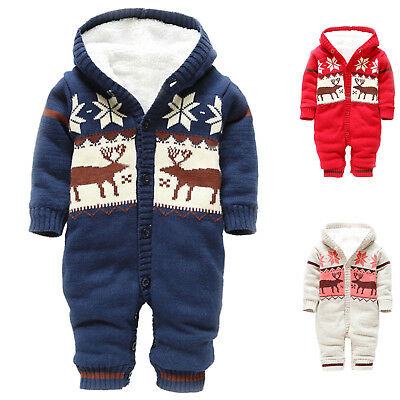 Baby Rompers Winter Thick Climbing Clothes Newborn Boys Girls Warm Romper TG