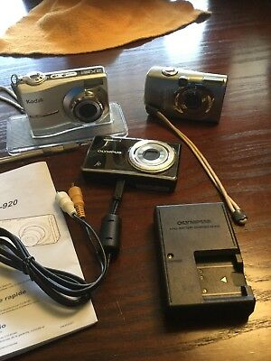 Lot Of 3 Digital Cameras Olympus Kodak Canon As is
