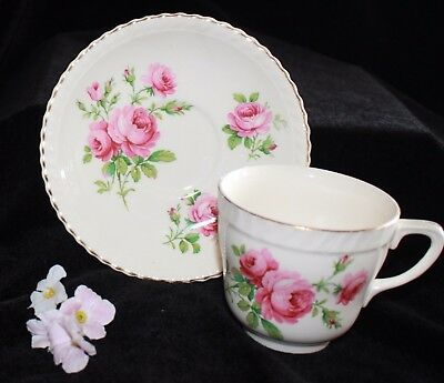 vintage tea cup saucer duo OLD ENGLISH PINK ROSES Johnson Eng china gold trim