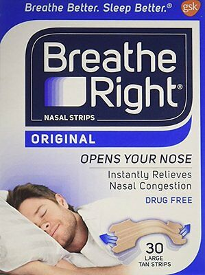 Breathe Right Nasal Strips Sleep Better Reduce Snoring Works Large Tan 30 Strips
