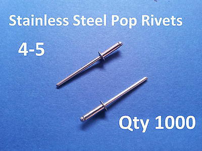 """1000 POP RIVETS STAINLESS STEEL BLIND DOME 4-5 3.2mm x 11mm 1/8"""""""