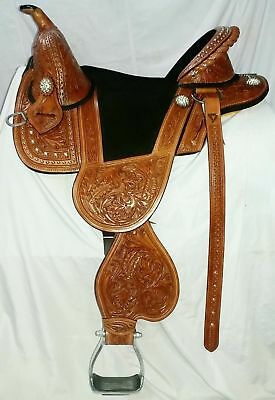 Horse Synthetic  Treeless Freemax Saddle (Free Girth and fly veil)  15''16'17'18
