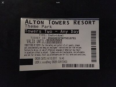 1 X Alton Towers Any Day Up Until 31 October/ Adult Or Child Scare fest Event