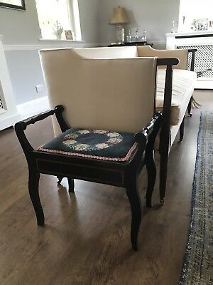 Antique Embroidered Piano Stool