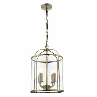 Traditional 4 Light Antique Brass Round Hanging Hall Ceiling Lantern