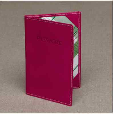 J.Crew Pink Leather Passport Cover Holder England Made Tartan Lining Inside
