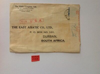 censored mail cover japan to south africa