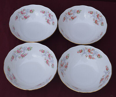 GAINSBOROUGH Pink Roses and Grey Scrolls CEREAL BOWLS X .4