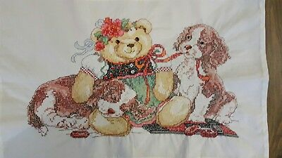 Completed Cross Stitch - Teddy & Puppies