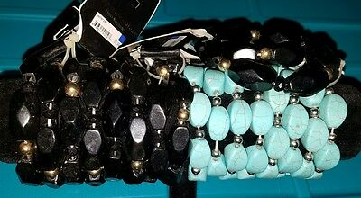 Pure Expressions Hypo-Allergenic Bracelets, Black & Turquoise, Lot of 18