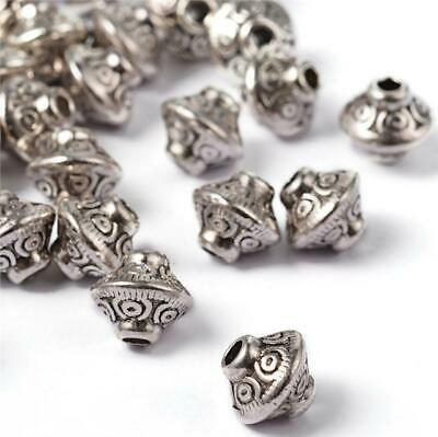 TOP QUALITY 20 TIBETAN SILVER ROUND BICONE SPACER BEADS 7mm ( TS33 )