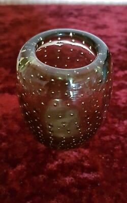Unusual Studio Art Glass Small Pot Vase Olive Coloured Clear Bubbles Great Item