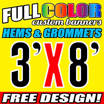 3' x 8' Full Color Custom Banner 13oz Vinyl-Free Design + Free shipping