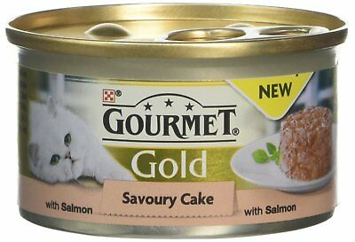 Gourmet Gold Wet Cat Food Savoury Cake Salmon Can Adult, 85 g - Pack of 12