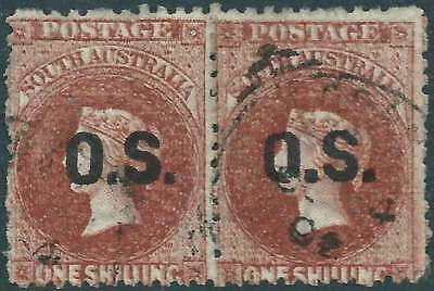 SOUTH AUSTRALIA 1874 Q. Vic 1/- Chestnut Opted O S in PAIR ACSC11 fine used