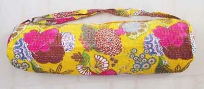 Boho Kantha Stitch Yoga Mat Carrier Floral Bag With Shoulder Strap Throw